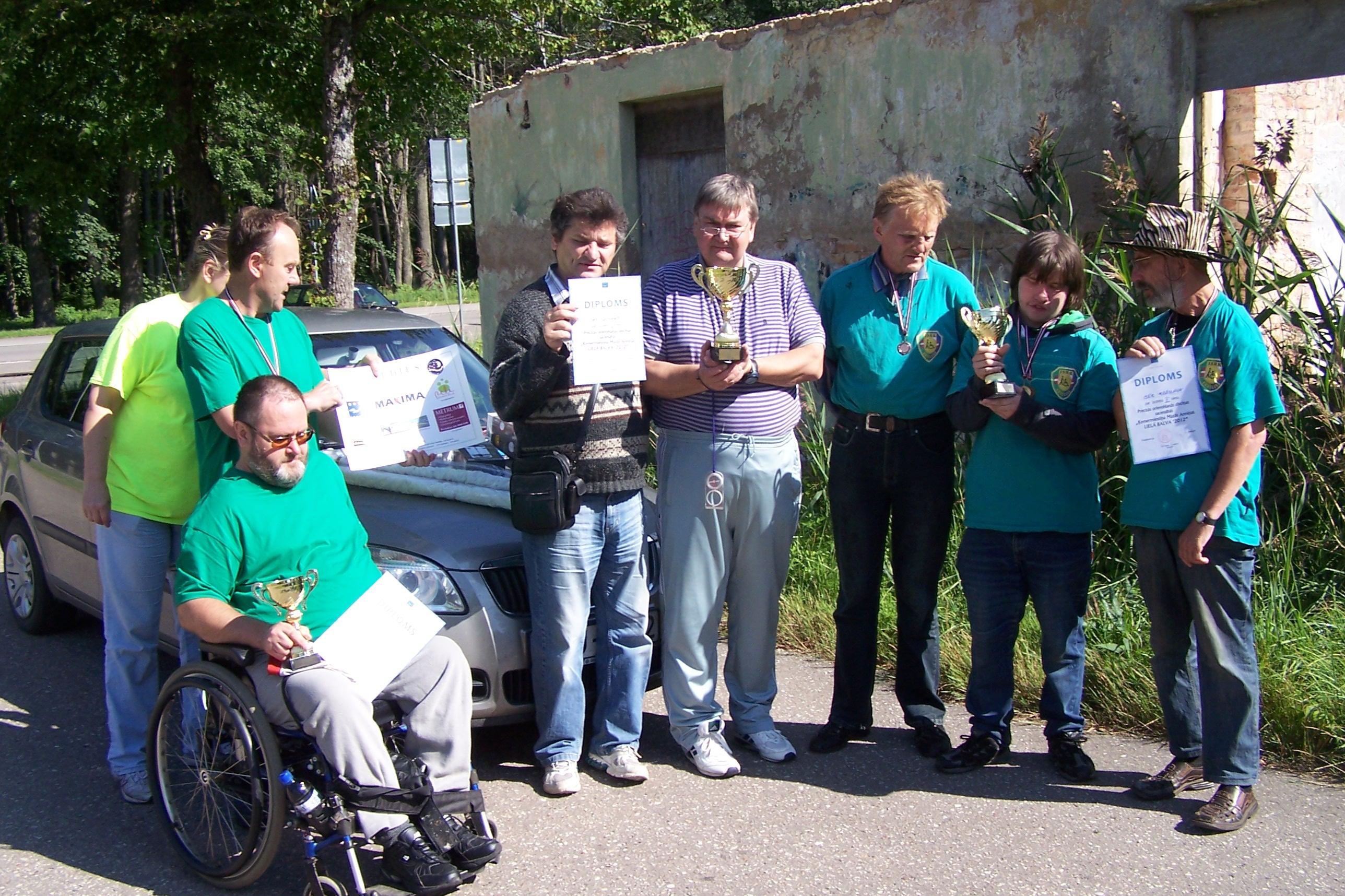 Paralimpisko komandu pirmo trīs vietu ieguvēji Foto: Atis Rukšāns